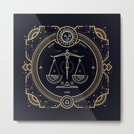 Libra Zodiac Golden White on Black Background Metal Print