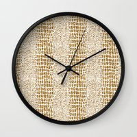 gold glitter Wall Clocks featuring Gold Glitter Alligator Print by Zen and Chic