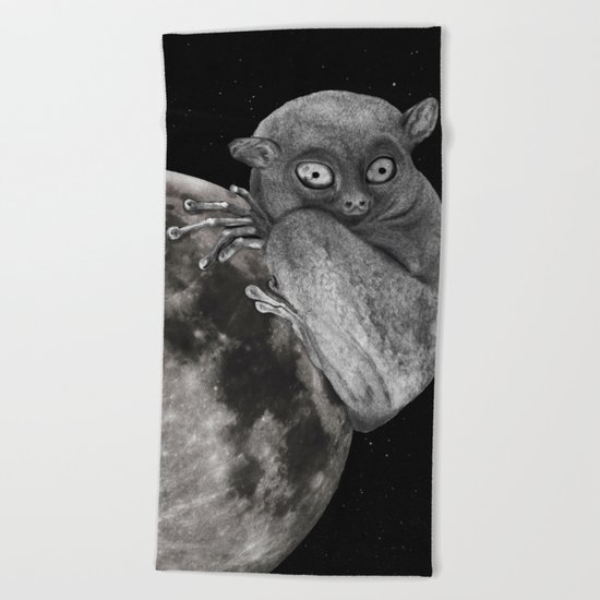 The Tarsius Who Reached His Light Source Beach Towel