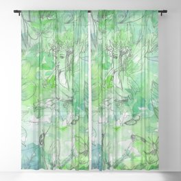 Summer Tunes - Green and Turquoise Sheer Curtain