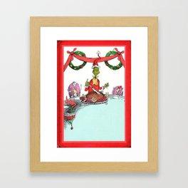 Festive Grinch Framed Art Print