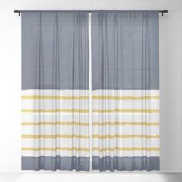 Navy stripes Sheer Curtain
