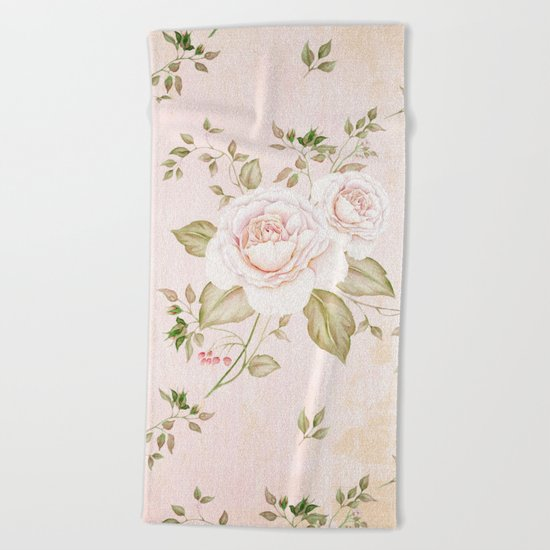 Vintage & Shabby -  floral roses flowers - Rose and Flower Beach Towel