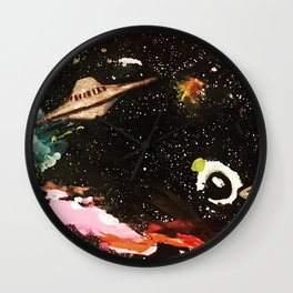 planets and spaceship Wall Clock
