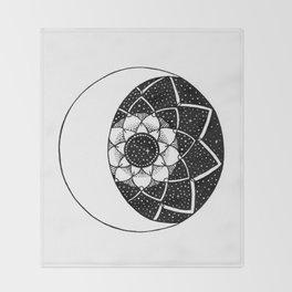 Crescent Moon Mandala Throw Blanket