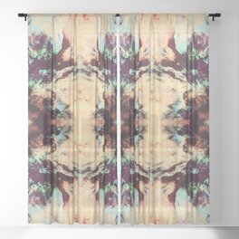 Abstract Colorful Batik Butterfly Pattern Sheer Curtain