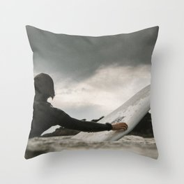 Surf grey photo Throw Pillow