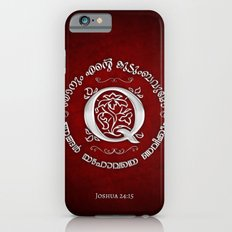 Joshua 24:15 - (Silver on Red) Monogram Q iPhone 6s Slim Case