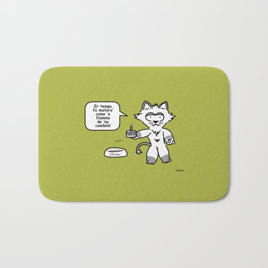 the wise cat - time Bath Mat