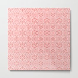 Pink Snowflake Pattern Metal Print