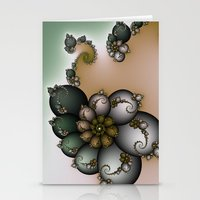 novelty Stationery Cards featuring Trinket Flower Fractal by Moody Muse