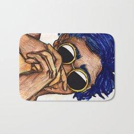 Untitled ( blue hair) Bath Mat