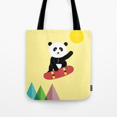 Panda on a skateboard Tote Bag