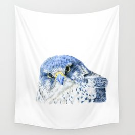 """""""Here's Looking At You"""" painting of a Gyrfalcon by Teresa Thompson Wall Tapestry"""