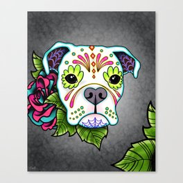 Boxer in White- Day of the Dead Sugar Skull Dog Canvas Print