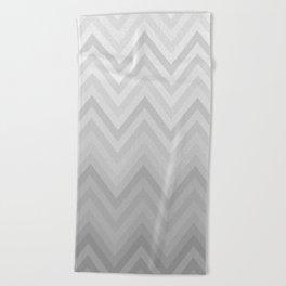Chevron Fade Grey Beach Towel