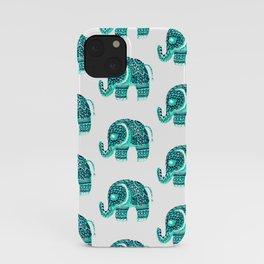 Modern teal watercolor floral henna mandala cute elephant pattern iPhone Case