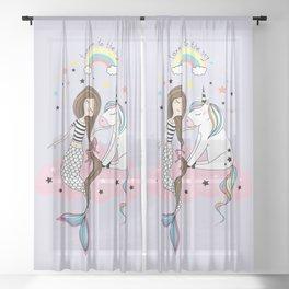 Mermaid & Unicorn Sheer Curtain