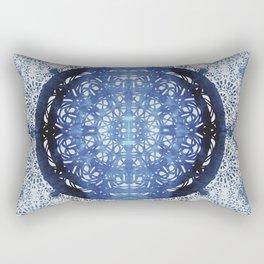 Boho Brocade Blue Mandalas Rectangular Pillow