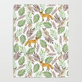Foxes, owls, rabbits. White pattern Poster