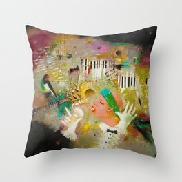 African American Masterpiece 'Jazz Songbird at the Apollo Theatre' by Tatyana Palchuk Throw Pillow