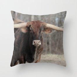 Long Horn Fine Art Photography Throw Pillow