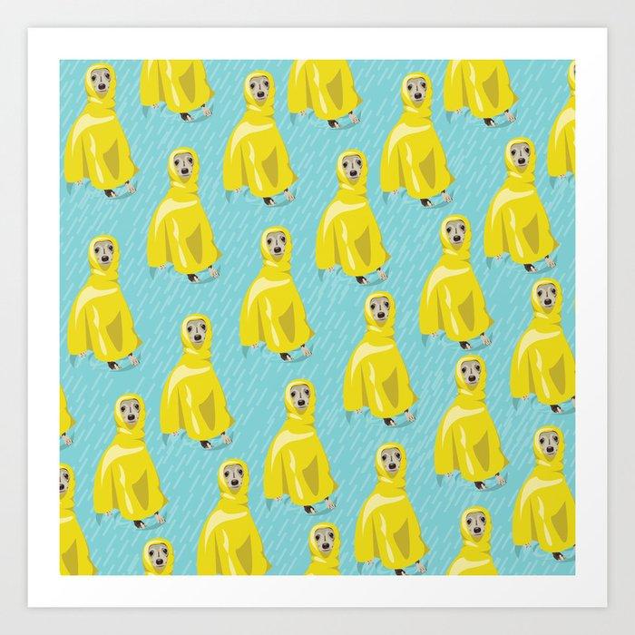 iggy in rain coat Art Print