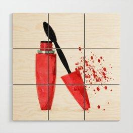 Red mascara fashion watercolor illustration Wood Wall Art