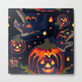Spooky Night of Ghost and Jackolanterns by Lorloves Design Metal Print