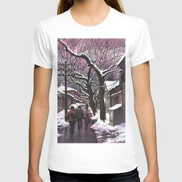 Snowy street at nightfall T-shirt