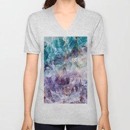 Turquoise & Purple Quartz Crystal Unisex V-Neck