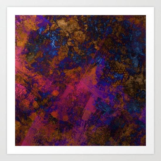 Day Dreaming - Abstract, metallic, textured, paint splatter style artwork Art Print