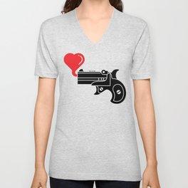 Pistol Blowing Bubbles of Love Unisex V-Neck