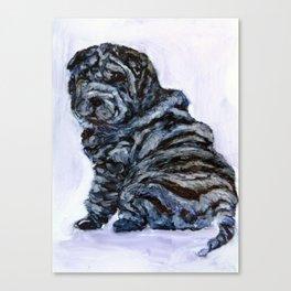 Black Shar Pei Love Canvas Print