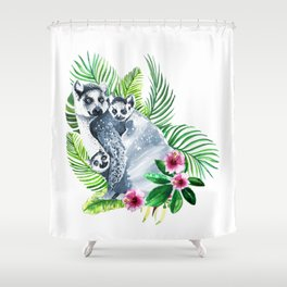 Family of lemurs with tropical leaves watercolor Shower Curtain