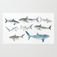 large Area & Throw Rugs featuring Sharks by Amy Hamilton