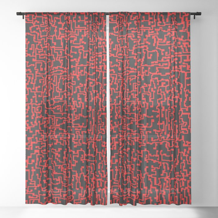 thought 2, red on black Sheer Curtain