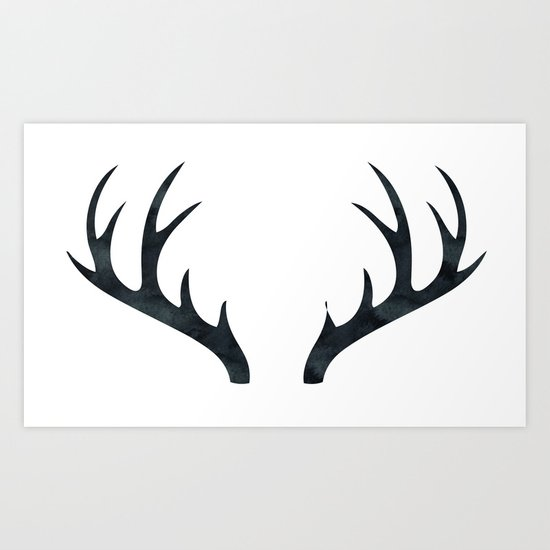 Antlers Black and White Art Print
