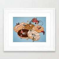 doughnut Framed Art Prints featuring Doughnut Selection by Stephen Sharpe