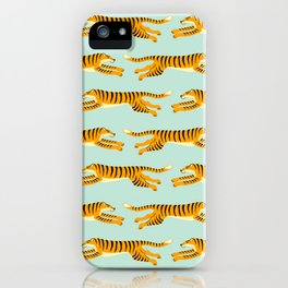 leaping tigers- mint iPhone Case