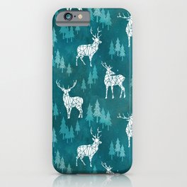 Ice Forest Deer Turquoise iPhone Case