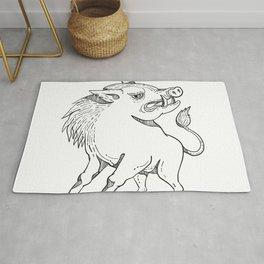 Razorback Doodle Art Black and White Rug