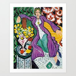 Woman in a Purple Coat 1937 by Henri Matisse, Artwork Design, Poster Tshirt, Tee, Jersey, Postcard Art Print