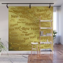 new year Colorful design happy new year text in gold, festive, elegant gift for anyone in the family Wall Mural