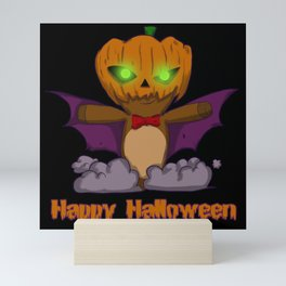 Happy Halloween Pumpkin Bat Costume Mini Art Print