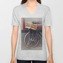 Bicycle, Wood Crate Unisex V-Neck