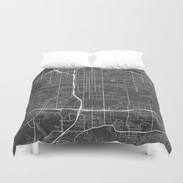 San Bernardino Map, USA - Gray Duvet Cover