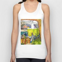 volkswagon Tank Tops featuring VW Bus Campsite by Barb Laskey Studio