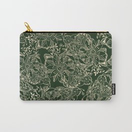 Hand painted gold forest green modern floral Carry-All Pouch