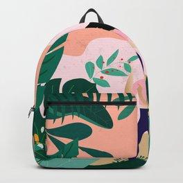 Cute Happy Girl in her Garden Backpack